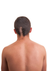 Closeup of the back of man head while his hair is cut isolated o