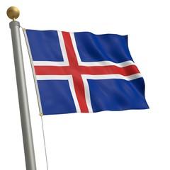 Die Flagge von Island flattert am Fahnenmast