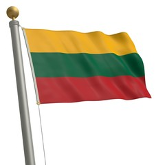 Die Flagge von Litauen flattert am Fahnenmast