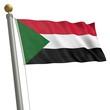Die Flagge von Sudan flattert am Fahnenmast