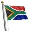 Die Flagge von Südafrika flattert am Fahnenmast