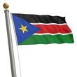 Die Flagge von Südsudan flattert am Fahnenmast