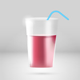 Glass of juice with tubule