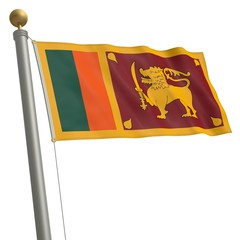 Die Flagge von Sri Lanka flattert am Fahnenmast