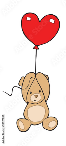 Cute Valentine Love Teddy flying with a Baloon