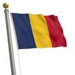 Die Flagge von Tschad flattert am Fahnenmast