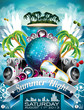 Vector Summer Beach Party Flyer Design with disco ball and wings
