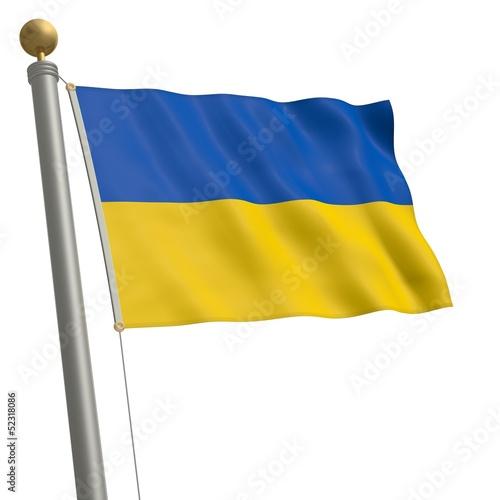 Die Flagge von Ukraine flattert am Fahnenmast