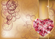 Wedding congratulation card with ruby heart, vector