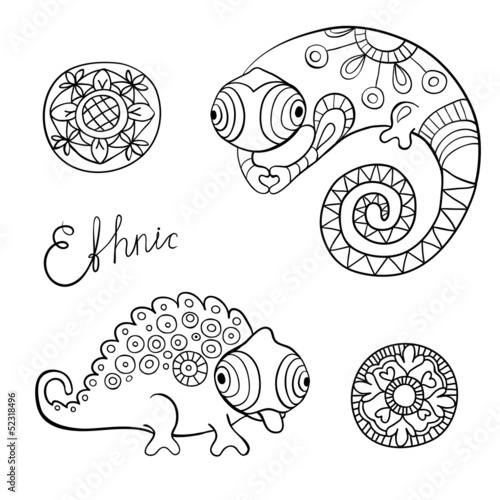 Chameleons and flowers in black color and ethnic style.