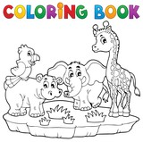 Coloring book African fauna 2 poster