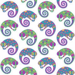 Chameleons decorative seamless pattern.
