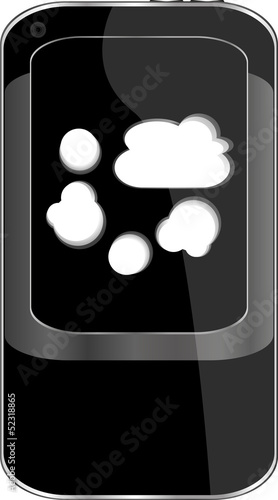 Cloud computing concept. Mobile smart phone with cloud icon