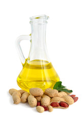 Peanut oil in a glass jug.