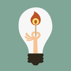 Light bulb with a match. Vector illustration.