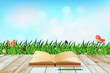 Fresh spring green grass with blue sky bokeh and open book and w