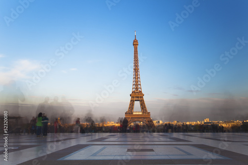 Eiffel tower from Trocadero at sunset, Paris, France