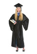 Full length portrait of woman in graduation gown with books