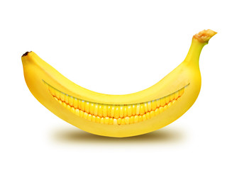 Happy banana with teeth corn isolated over white background