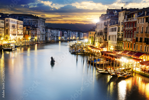 canvas print picture Grand Canal at night, Venice