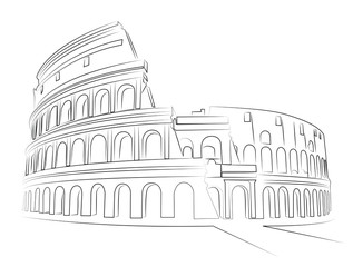 Colosseum Rome - vector sketch