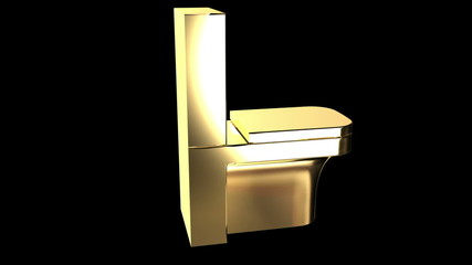 Gold flush toilet