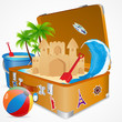 vector illustration of sand castle on sea beach in luggage