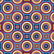 Colorful symmetrical abstract circle shapes pattern.