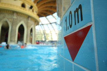 Depth gauge in the pool at the water park