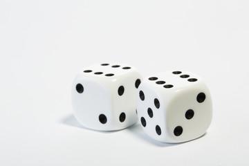 Würfel, Paar, weiß 66
