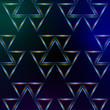 abstract blue background with shining multicolored triangles