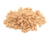 pile of granules  Wheat Bran background. Food for horses and far