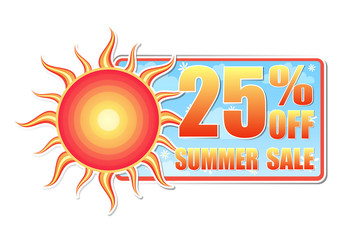 25 percentages off summer sale in label with sun