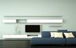 Wohndesign - blaues Sofa vor Fernsehwand
