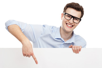 Man pointing at blank sign
