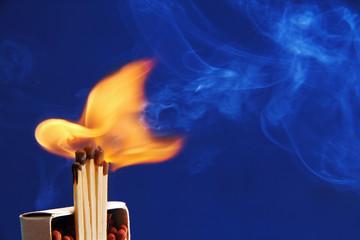 burning matches.