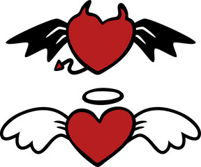 cartoon angel and evil hearts