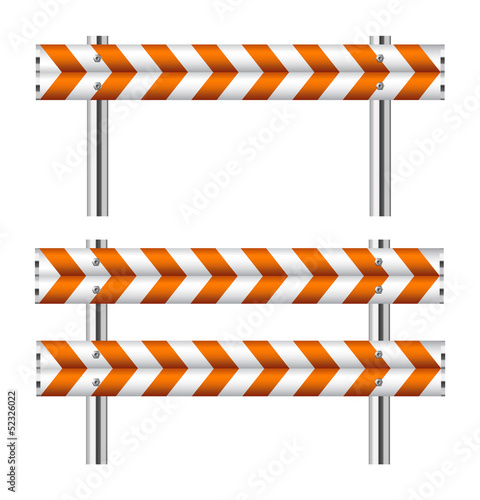 Orange and white construction barricade