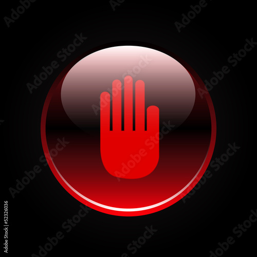Hand sign on red button