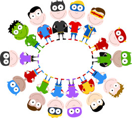 cute superheroes circle