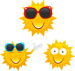 cute sun cartoons set