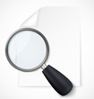 Paper note with magnifying glass icon