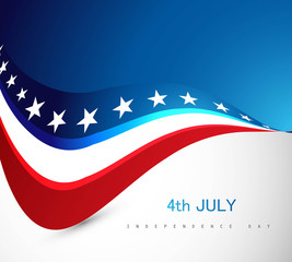 American Flag 4th july independence day wave illustration