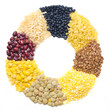 assorted cereals and legumes in form of a circle