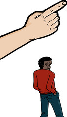 Pointing Finger Above Black Man