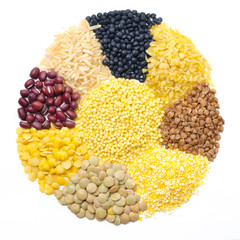 assorted cereals and legumes in form of a circle isolated