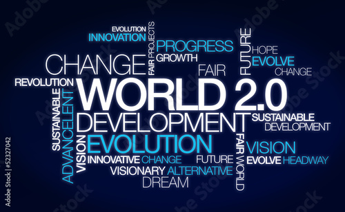 World 2.0 development change word tag cloud image