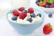 bowl of cottage cheese with berries, honey, nuts
