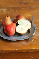 Fresh ripe pears in a plate