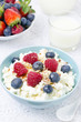 cottage cheese with berries, honey and nuts for breakfast